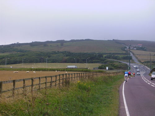 The view from the approach on the A174 – it's the road to the right you're going up!