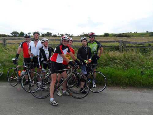 The Club Run looking pleased with themselves as they think they are at the top, little did they know that there was another steep section just round the corner