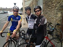 Rob Carter, Graeme Tate and Paul Christon pose for the camera outside er… a toilet in Barnard Castle!