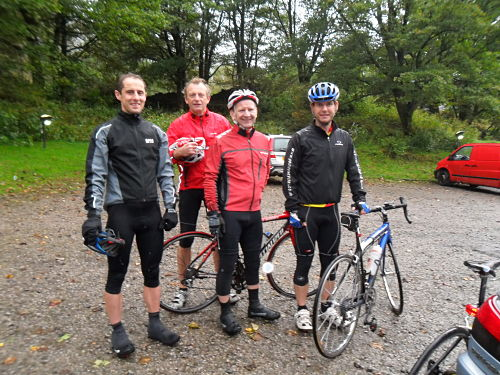 Waiting to start in Patterdale, left to right Paul, John P, Mick, Dave, John K is taking the photo. It's actually raining quite hard despite the smiles.