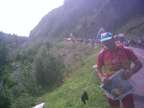 Mike waiting on the Col de la Colombiere