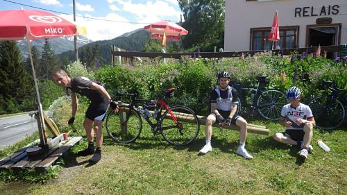 Me, Graeme and Dave taking on water at the top of the Telegraph, Graeme looks a bit fed up and we still have 50 miles and the Galibier to go!