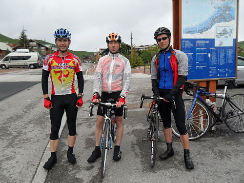 At the top of the Alpe! Dave, Ian and myself, Graeme is on photo duty