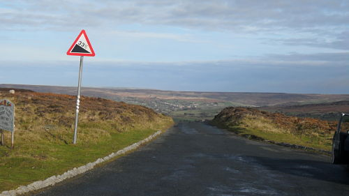 Looking down from the top with the dreaded 33% sign, way too optimistic, but it is steep