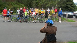 Riders assemble at Clay Bank top, Bryan Bevis (in the foreground) directs.